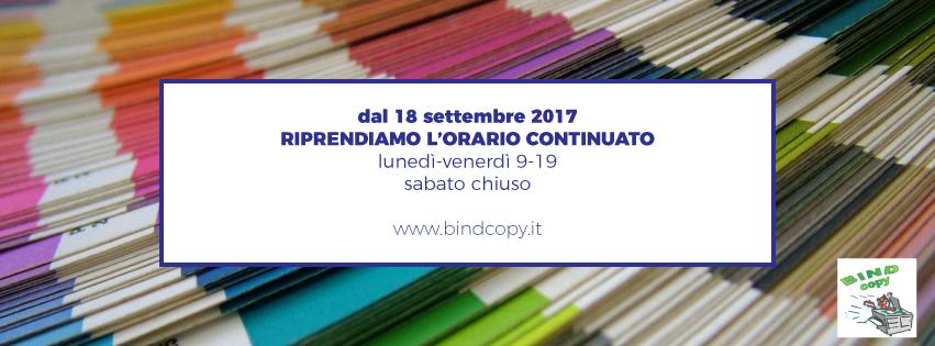 Bindcopy copisteria e cartoleria di Parma in via D'Azeglio riprende l'orario continuato