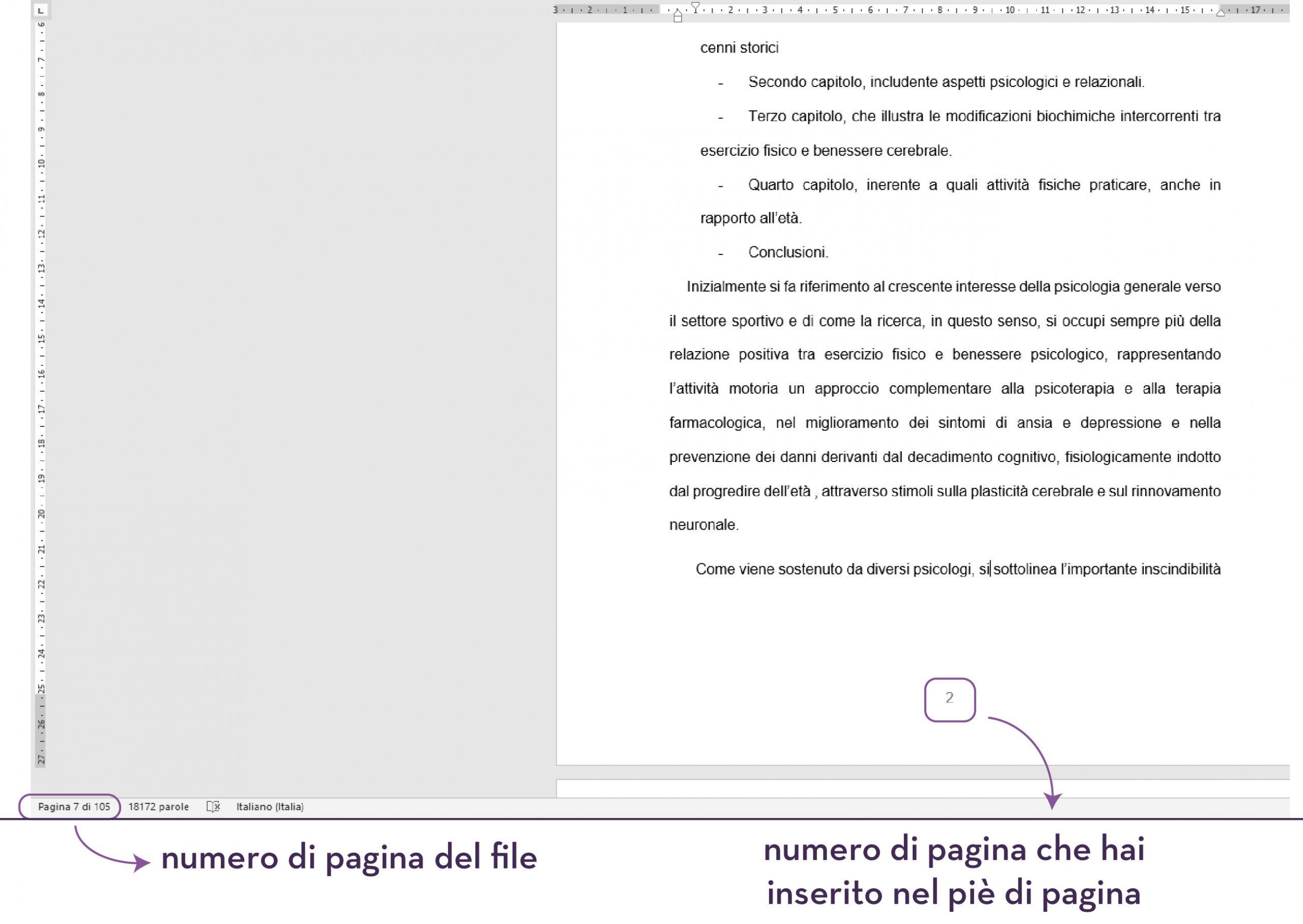 Differenza tra numero di pagina del file e numerazione in basso nel pie di pagina