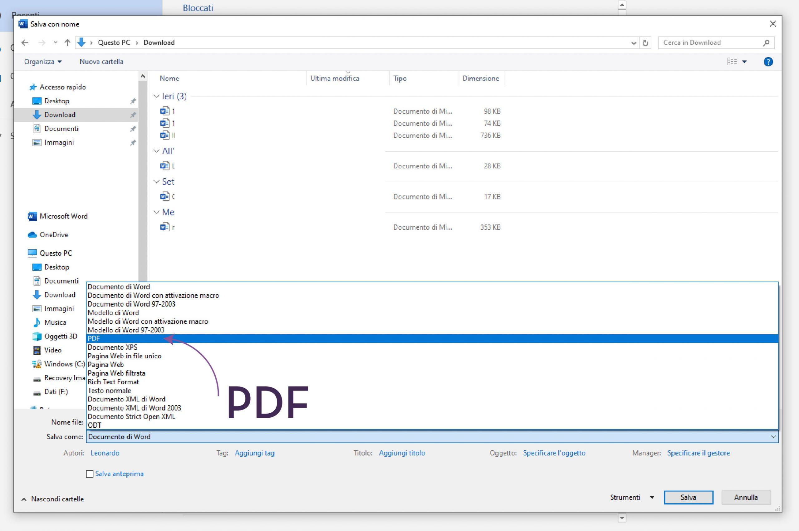Trasformare un doc word in pdf - 2