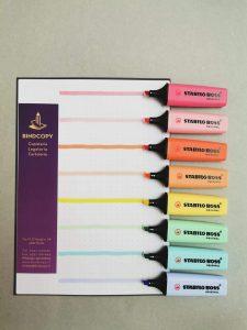 Cartoleria Bindcopy parma quaderni penne evidenziatori pigna nature monocromo stabilo tratto video bic